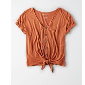 AE button up tie front tee